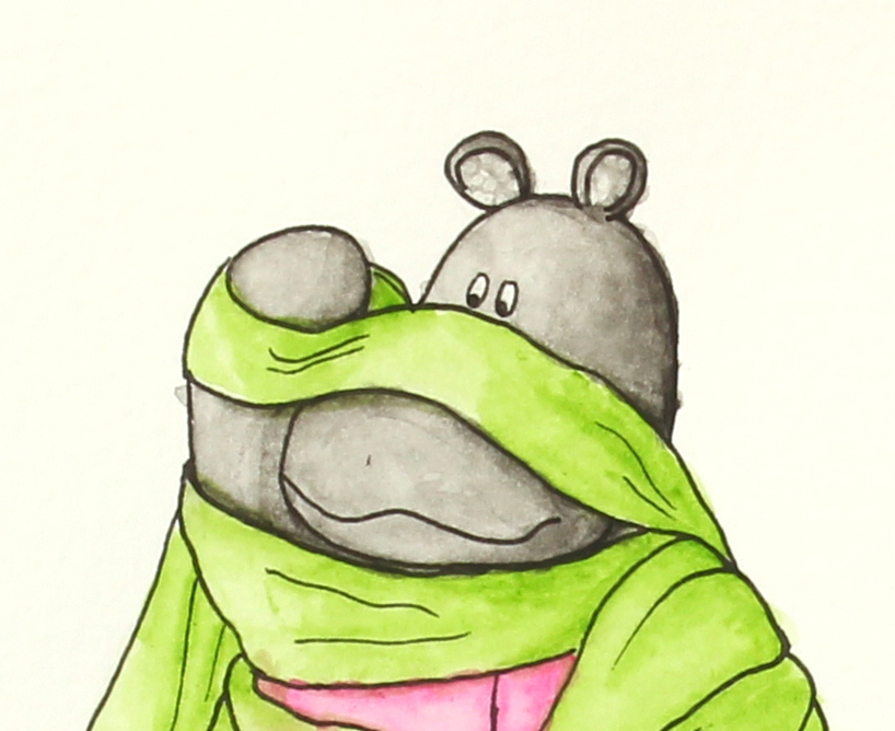 watercolor illustration of macy the mippo wrapped in green fabric