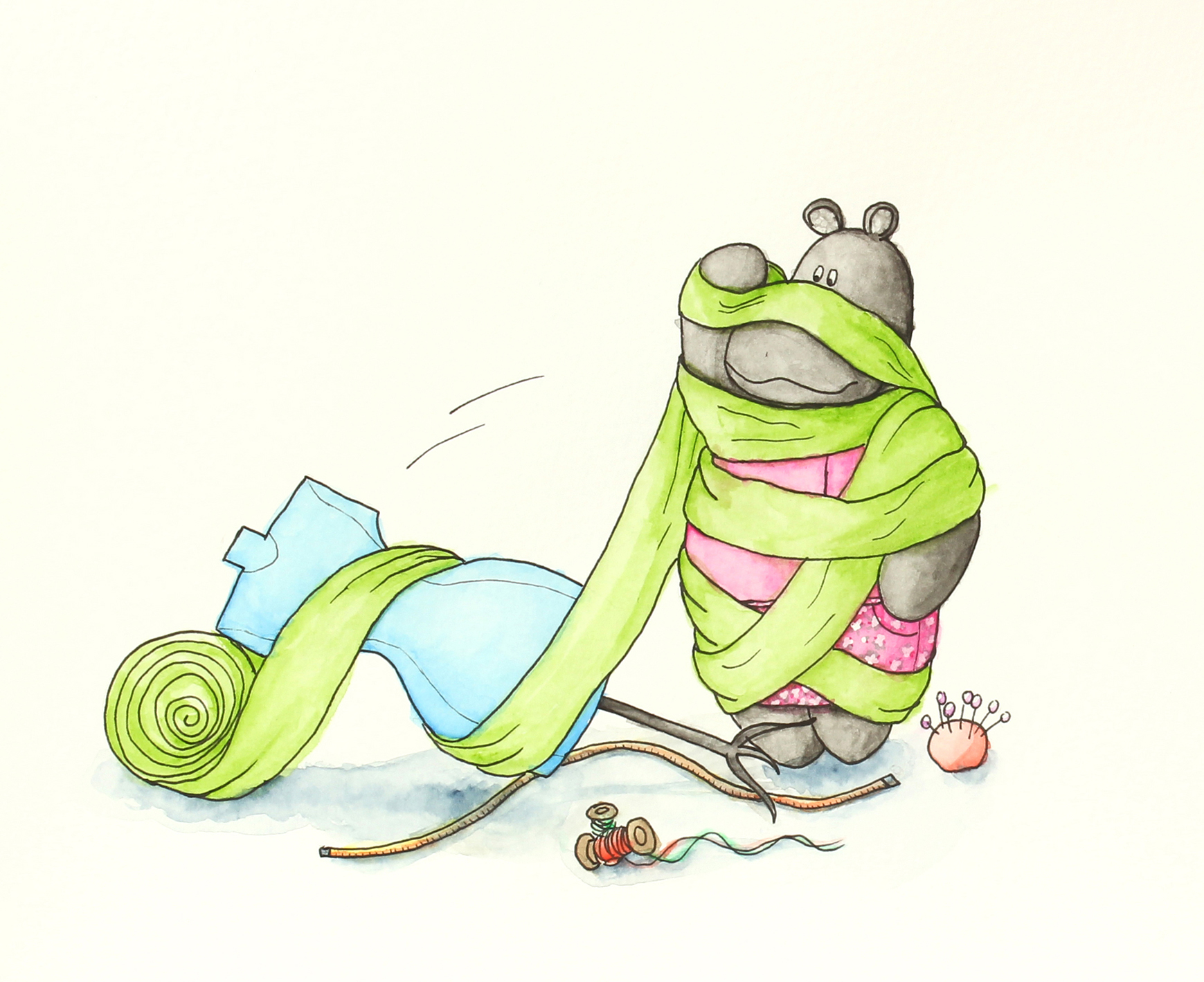 full view watercolor illustration of macy the mippo wrapped in green fabric