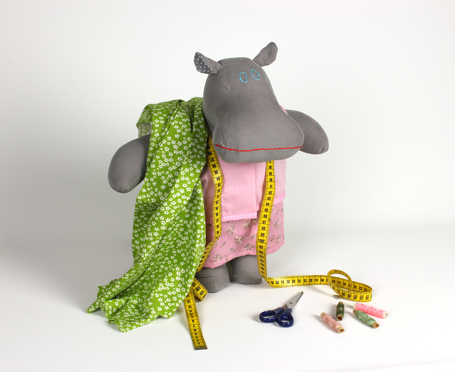 handmade hippo dress up doll