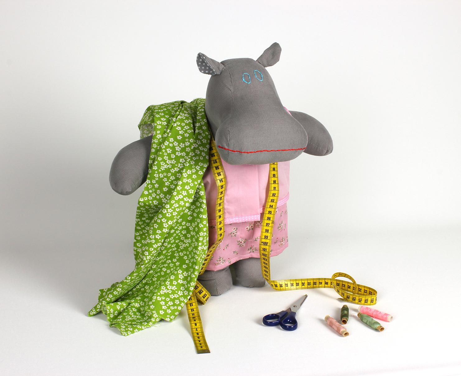 handmade hippo dress up doll