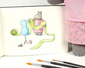 Macy the mippo hippo watercolor illustration fashion