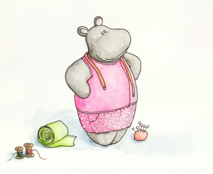 Colorful hippo illustration proud look at her sewing creation