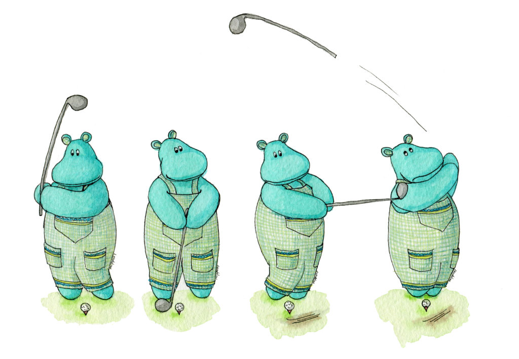 Golf playing hippo watercolor illustration