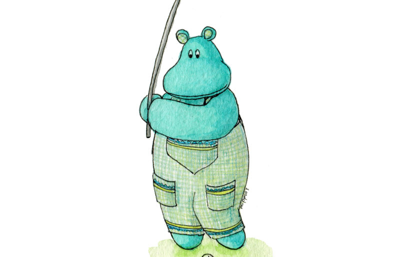 Golfing Mippo hippo taking a swing